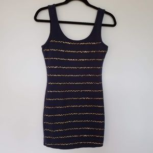 3for$25 Forever 21 gold sequin mini blue body con